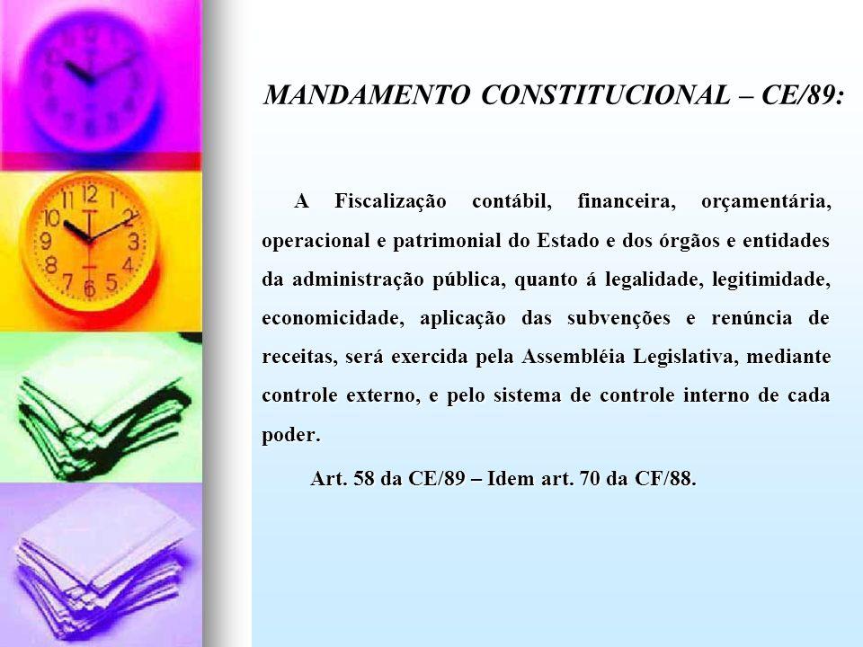 A Fiscalização contábil, financeira, orçamentária, operacional e patrimonial do Estado e dos órgãos e entidades da administração pública, quanto á leg