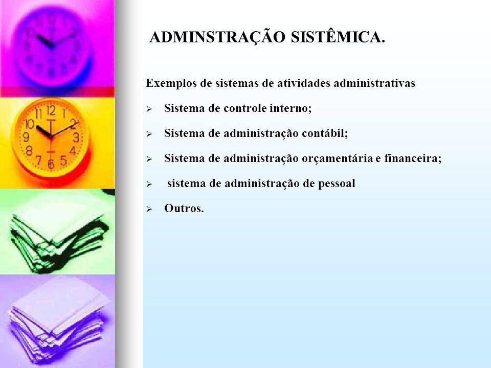 Exemplos de sistemas de atividades administrativas Sistema de controle interno; Sistema de controle interno; Sistema de administração contábil; Sistem