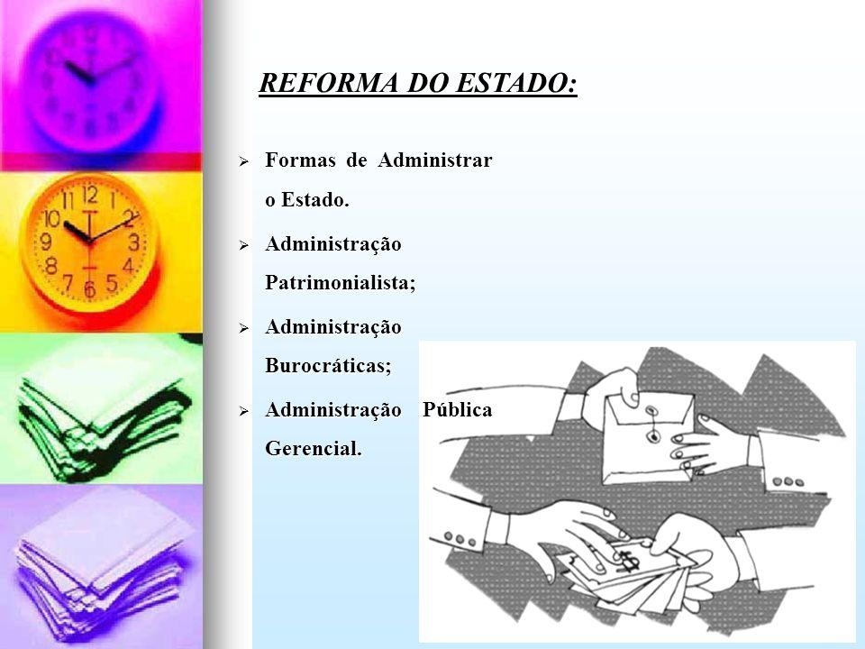 Formas de Administrar o Estado. Formas de Administrar o Estado. Administração Patrimonialista; Administração Patrimonialista; Administração Burocrátic