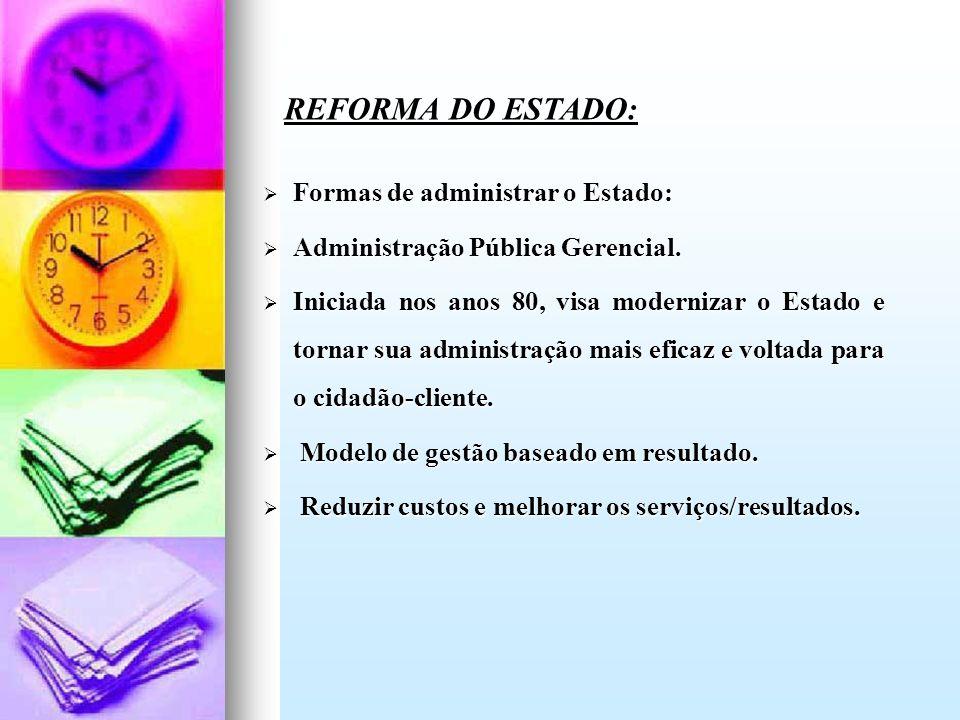 Formas de administrar o Estado: Formas de administrar o Estado: Administração Pública Gerencial. Administração Pública Gerencial. Iniciada nos anos 80