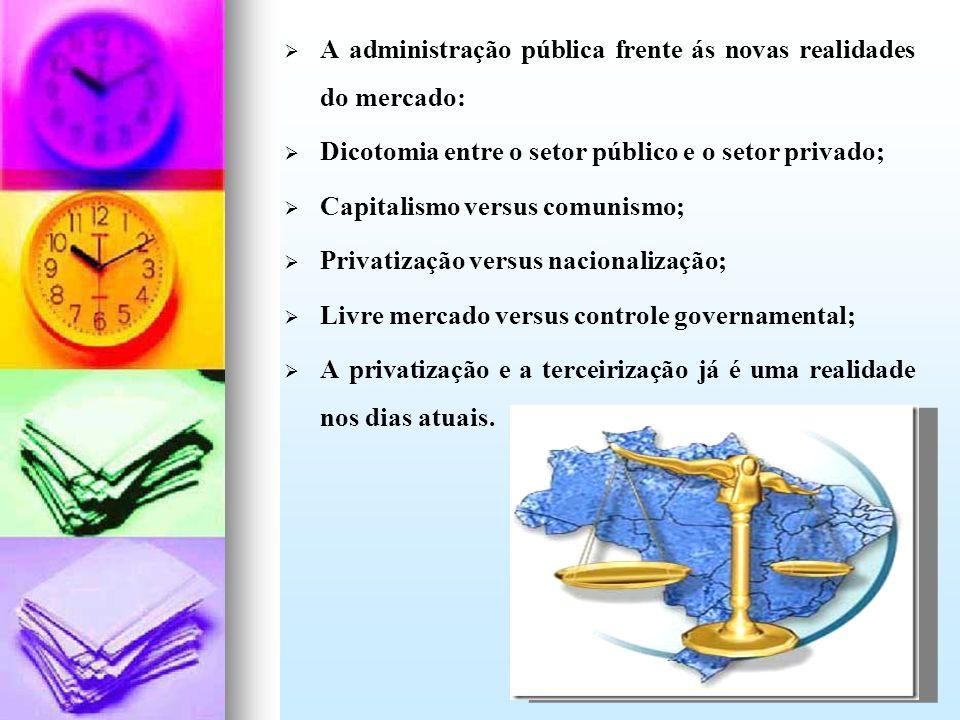 A administração pública frente ás novas realidades do mercado: Dicotomia entre o setor público e o setor privado; Capitalismo versus comunismo; Privat
