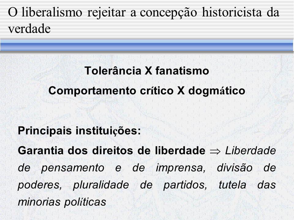 Democracia X Liberalismo Principal crítica Uma democracia pura desrespeitadora dos princípios clássicos liberais se transformaria em um regime iliberal e despótico.