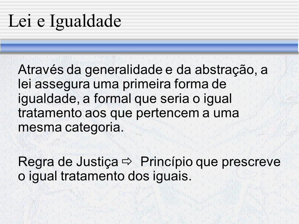 Lei e Igualdade Visão tradicional Lei como uma regra de conduta.