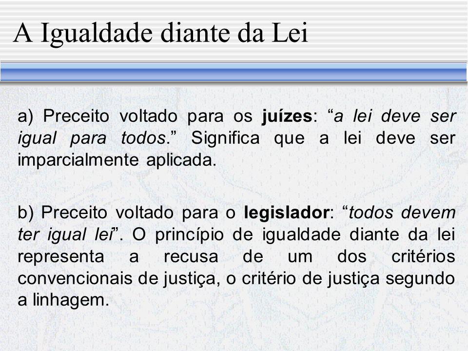 A Igualdade diante da Lei A igualdade diante da lei é distinta da igualdade de tratamento inerente à natureza mesma da lei.