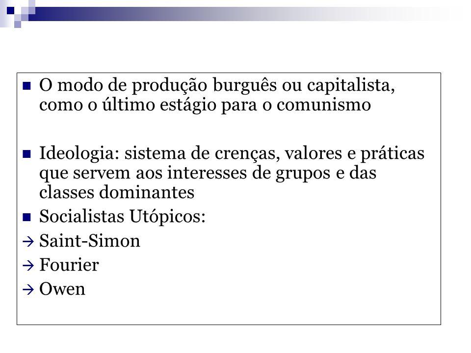 O modo de produção burguês ou capitalista, como o último estágio para o comunismo Ideologia: sistema de crenças, valores e práticas que servem aos int