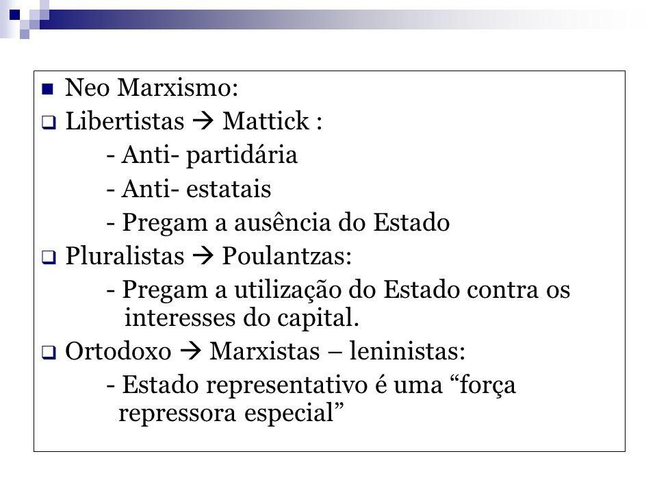 Neo Marxismo: Libertistas Mattick : - Anti- partidária - Anti- estatais - Pregam a ausência do Estado Pluralistas Poulantzas: - Pregam a utilização do