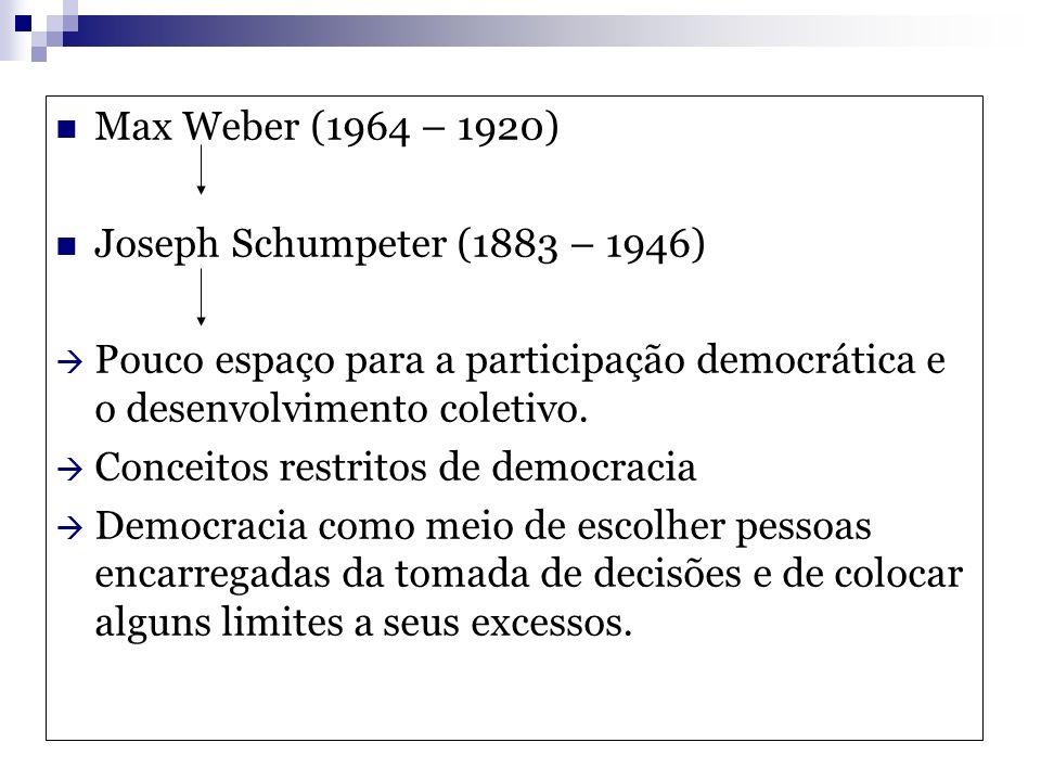 Max Weber (1964 – 1920) Joseph Schumpeter (1883 – 1946) Pouco espaço para a participação democrática e o desenvolvimento coletivo. Conceitos restritos