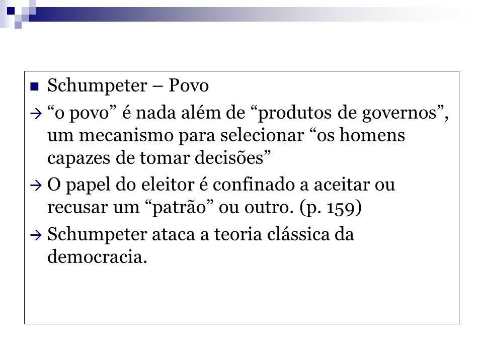 Schumpeter – Povo o povo é nada além de produtos de governos, um mecanismo para selecionar os homens capazes de tomar decisões O papel do eleitor é co