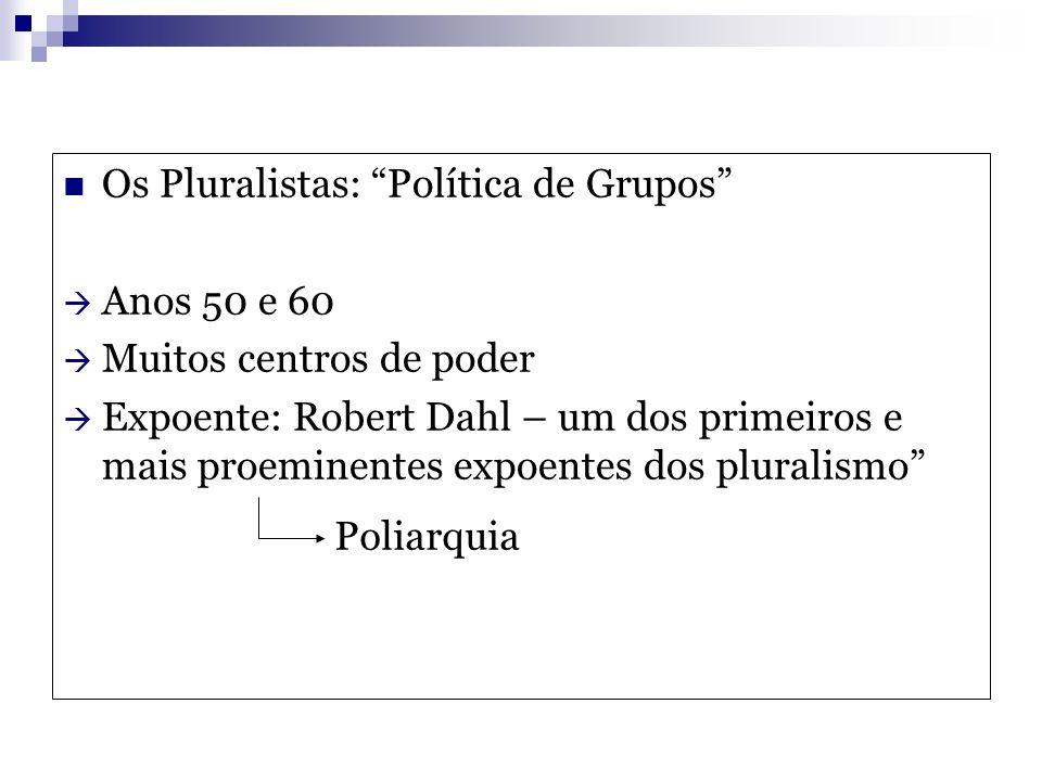 Os Pluralistas: Política de Grupos Anos 50 e 60 Muitos centros de poder Expoente: Robert Dahl – um dos primeiros e mais proeminentes expoentes dos plu