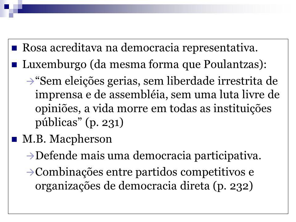 Rosa acreditava na democracia representativa. Luxemburgo (da mesma forma que Poulantzas): Sem eleições gerias, sem liberdade irrestrita de imprensa e
