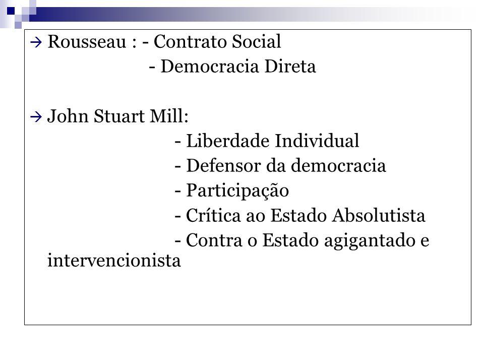 Rousseau : - Contrato Social - Democracia Direta John Stuart Mill: - Liberdade Individual - Defensor da democracia - Participação - Crítica ao Estado