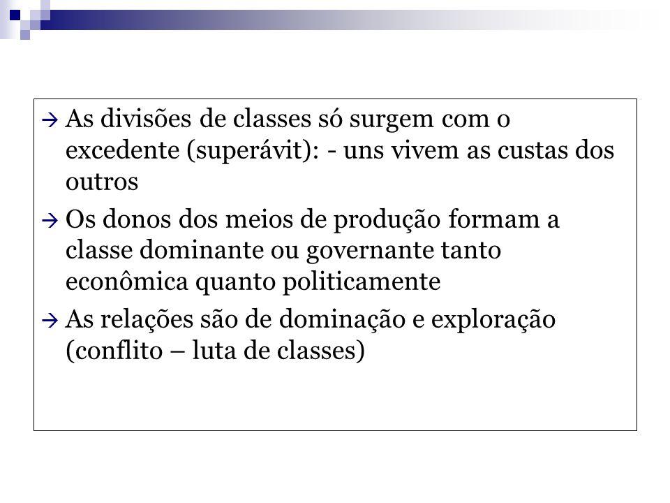 As divisões de classes só surgem com o excedente (superávit): - uns vivem as custas dos outros Os donos dos meios de produção formam a classe dominant