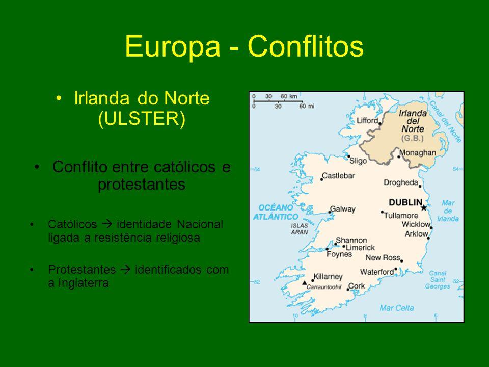 Europa - Conflitos Irlanda do Norte (ULSTER) Conflito entre católicos e protestantes Católicos identidade Nacional ligada a resistência religiosa Prot