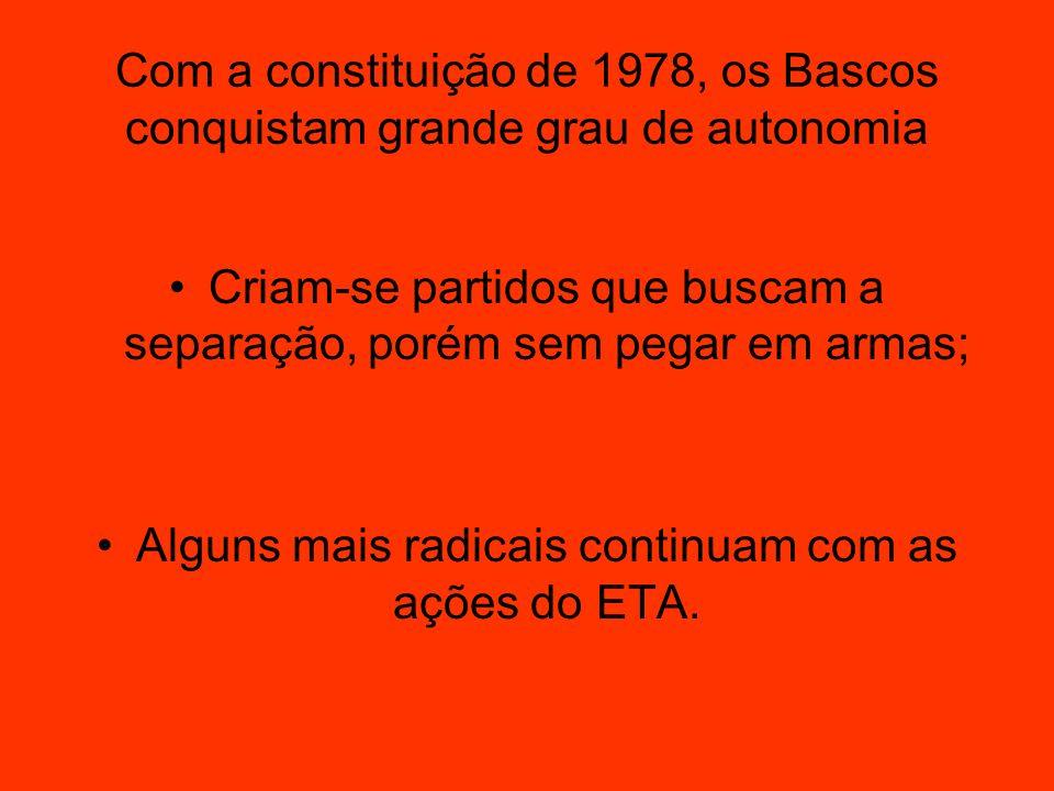 Com a constituição de 1978, os Bascos conquistam grande grau de autonomia Criam-se partidos que buscam a separação, porém sem pegar em armas; Alguns m