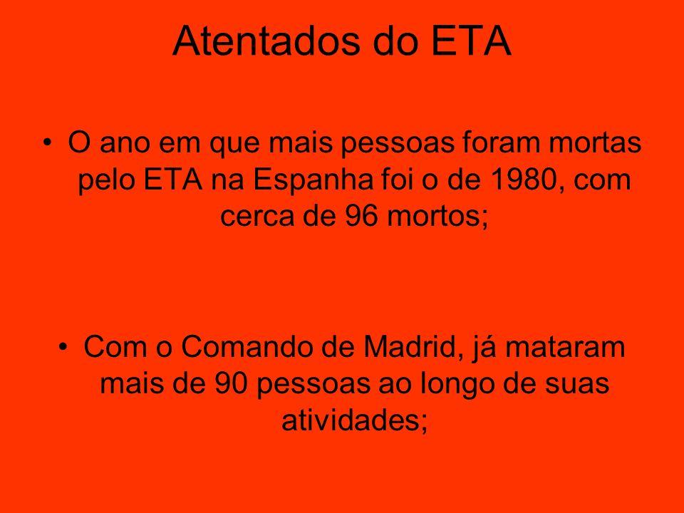 Atentados do ETA O ano em que mais pessoas foram mortas pelo ETA na Espanha foi o de 1980, com cerca de 96 mortos; Com o Comando de Madrid, já mataram