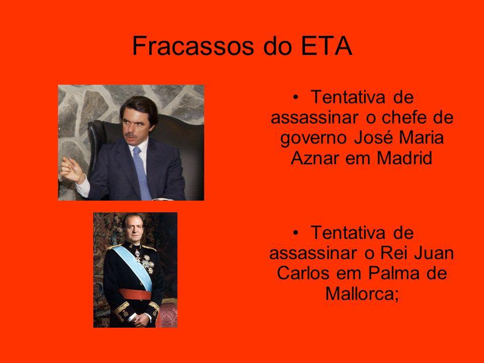 Fracassos do ETA Tentativa de assassinar o chefe de governo José Maria Aznar em Madrid Tentativa de assassinar o Rei Juan Carlos em Palma de Mallorca;