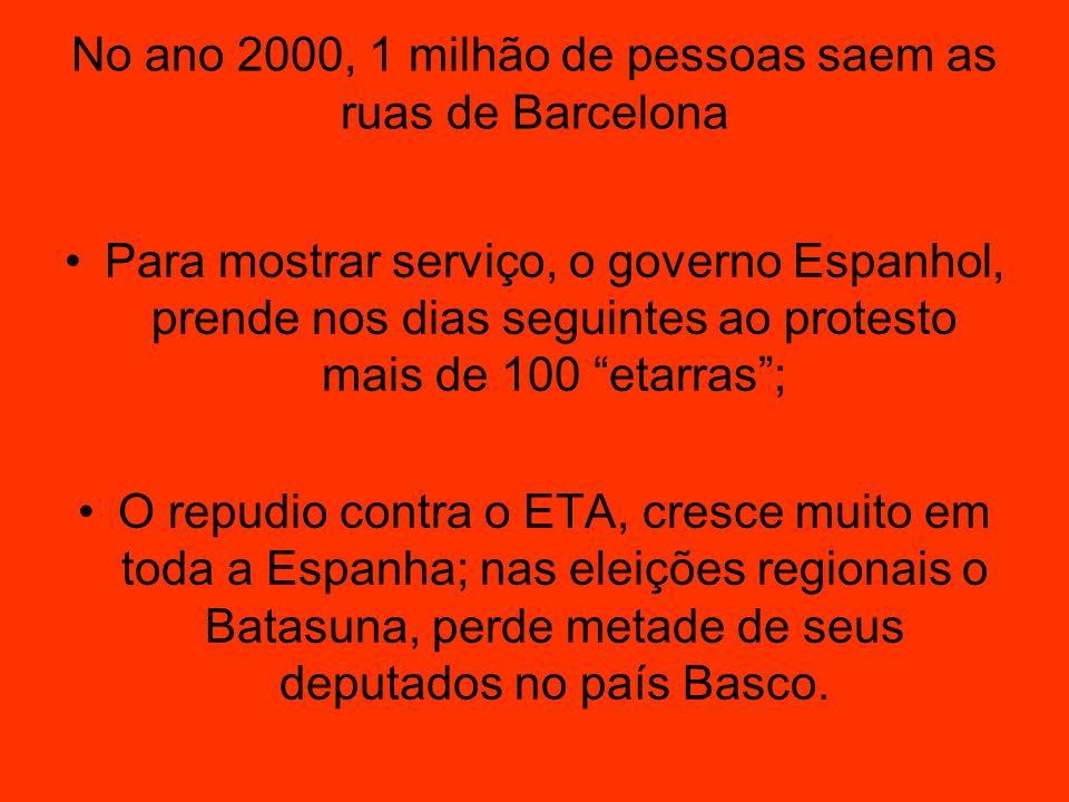 No ano 2000, 1 milhão de pessoas saem as ruas de Barcelona Para mostrar serviço, o governo Espanhol, prende nos dias seguintes ao protesto mais de 100