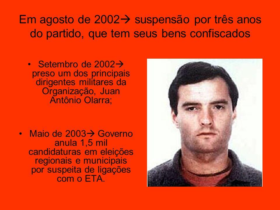 Em agosto de 2002 suspensão por três anos do partido, que tem seus bens confiscados Setembro de 2002 preso um dos principais dirigentes militares da O