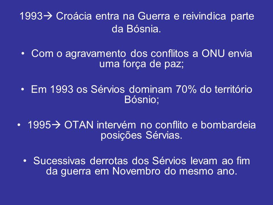 1993 Croácia entra na Guerra e reivindica parte da Bósnia. Com o agravamento dos conflitos a ONU envia uma força de paz; Em 1993 os Sérvios dominam 70