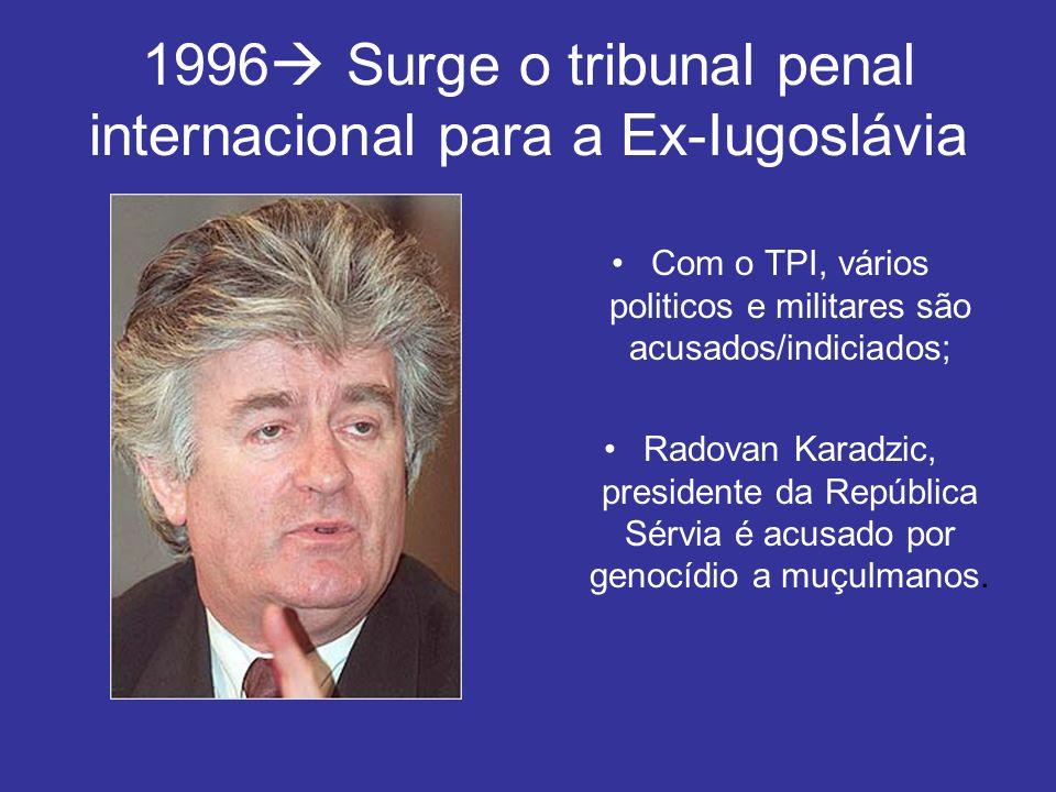 1996 Surge o tribunal penal internacional para a Ex-Iugoslávia Com o TPI, vários politicos e militares são acusados/indiciados; Radovan Karadzic, pres