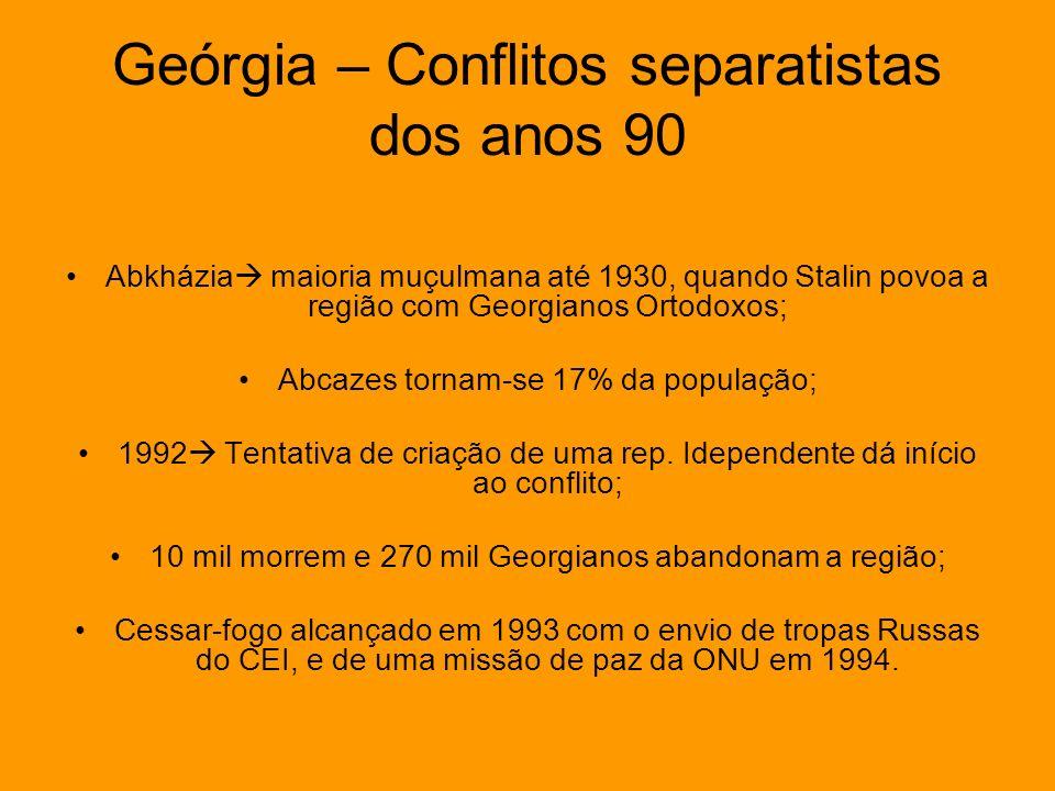 Geórgia – Conflitos separatistas dos anos 90 Abkházia maioria muçulmana até 1930, quando Stalin povoa a região com Georgianos Ortodoxos; Abcazes torna