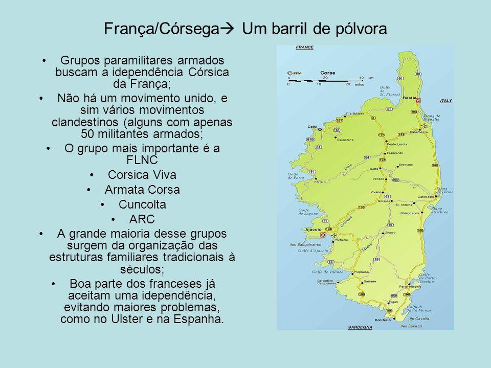 França/Córsega Um barril de pólvora Grupos paramilitares armados buscam a idependência Córsica da França; Não há um movimento unido, e sim vários movi