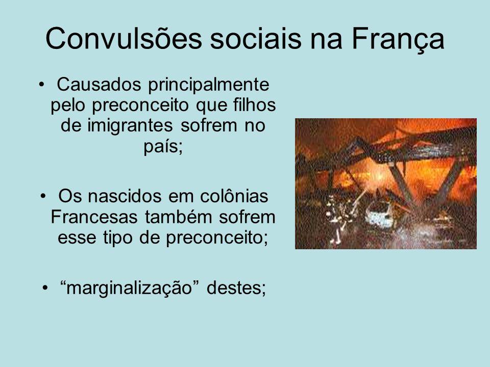 Convulsões sociais na França Causados principalmente pelo preconceito que filhos de imigrantes sofrem no país; Os nascidos em colônias Francesas també