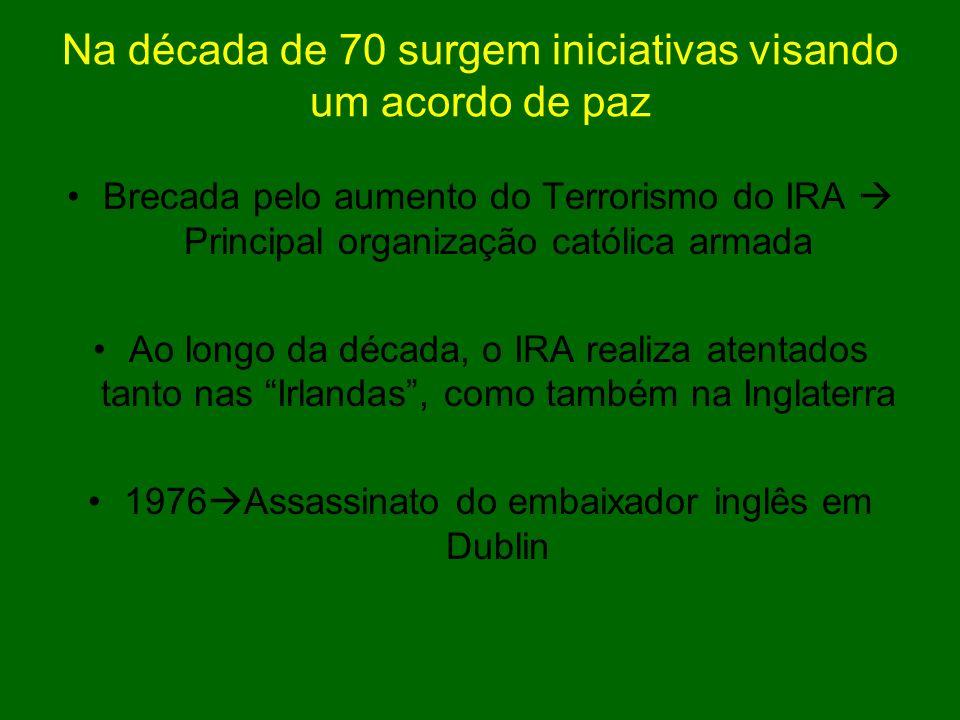 Na década de 70 surgem iniciativas visando um acordo de paz Brecada pelo aumento do Terrorismo do IRA Principal organização católica armada Ao longo d