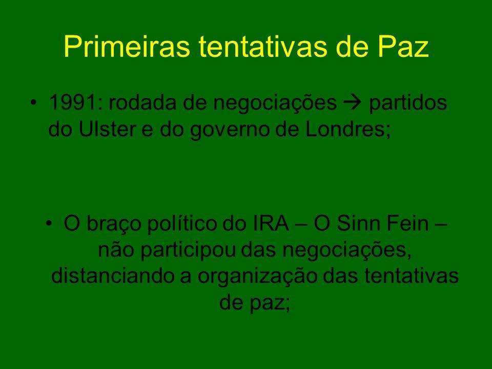 Abril de 1998 devolução dos poderes suprimidos em 1972, com eleição novamente de uma Assembléia (Parlamento); Acordo da Sexta Feira Santa Aprovado em referendo nas duas Irlandas Libertação de presos polìticos; Deposição de armas de grupos paramilitares.