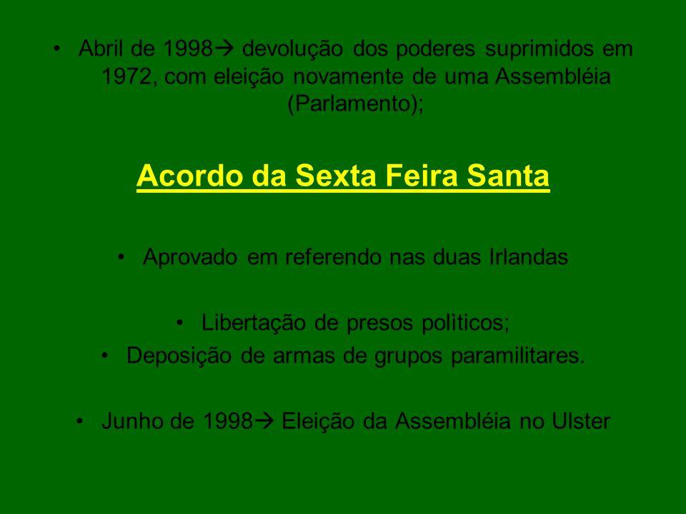 Abril de 1998 devolução dos poderes suprimidos em 1972, com eleição novamente de uma Assembléia (Parlamento); Acordo da Sexta Feira Santa Aprovado em