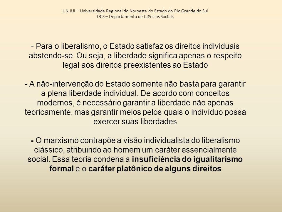 UNIJUI – Universidade Regional do Noroeste do Estado do Rio Grande do Sul DCS – Departamento de Ciências Sociais - Para o liberalismo, o Estado satisf