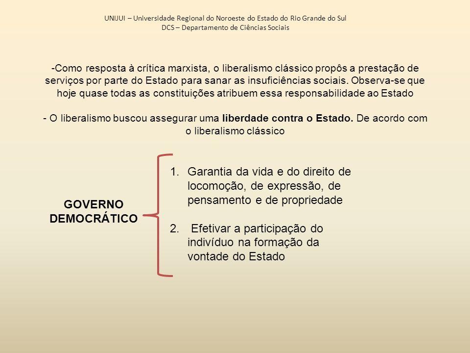 UNIJUI – Universidade Regional do Noroeste do Estado do Rio Grande do Sul DCS – Departamento de Ciências Sociais -Como resposta à crítica marxista, o