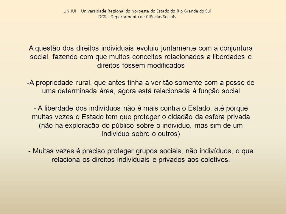 UNIJUI – Universidade Regional do Noroeste do Estado do Rio Grande do Sul DCS – Departamento de Ciências Sociais A questão dos direitos individuais ev