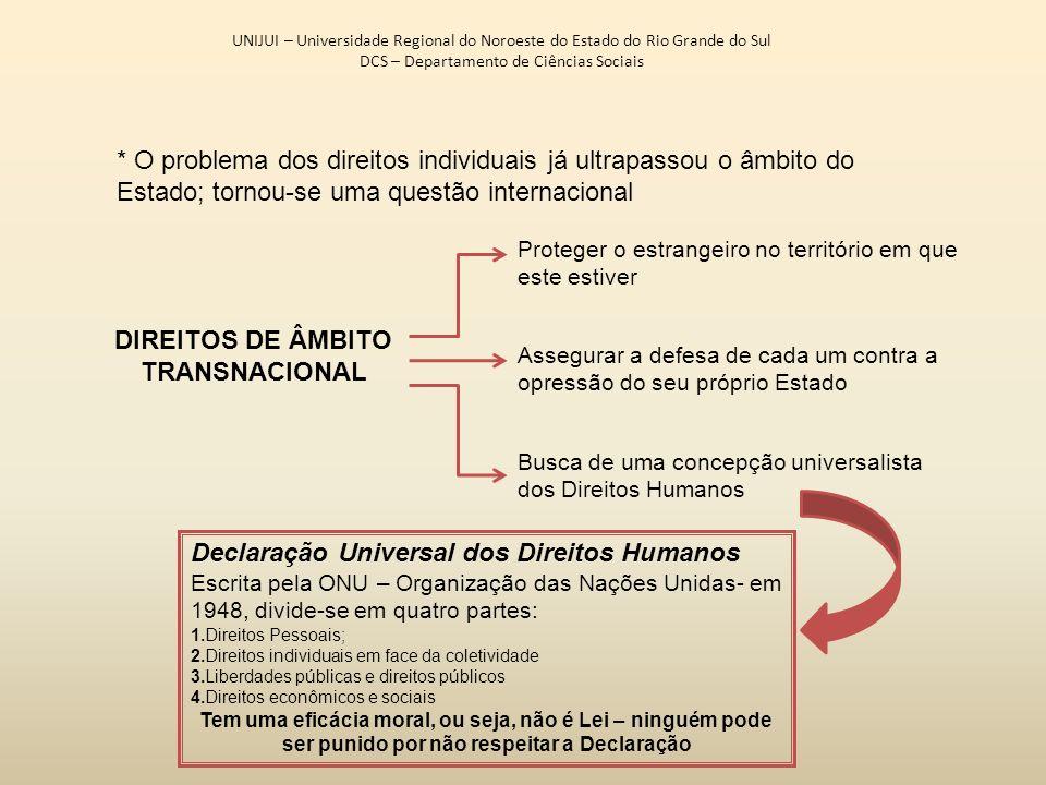 UNIJUI – Universidade Regional do Noroeste do Estado do Rio Grande do Sul DCS – Departamento de Ciências Sociais * O problema dos direitos individuais