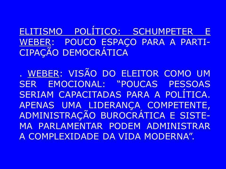 ELITISMO POLÍTICO: SCHUMPETER E WEBER: POUCO ESPAÇO PARA A PARTI- CIPAÇÃO DEMOCRÁTICA. WEBER: VISÃO DO ELEITOR COMO UM SER EMOCIONAL: POUCAS PESSOAS S