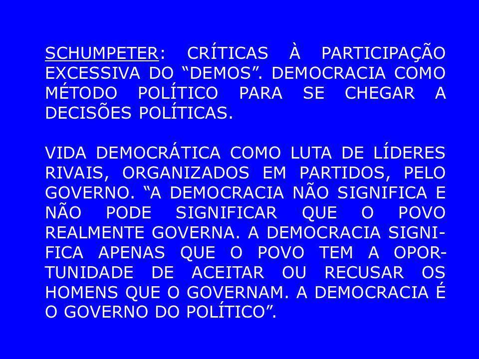 SCHUMPETER: CRÍTICAS À PARTICIPAÇÃO EXCESSIVA DO DEMOS. DEMOCRACIA COMO MÉTODO POLÍTICO PARA SE CHEGAR A DECISÕES POLÍTICAS. VIDA DEMOCRÁTICA COMO LUT