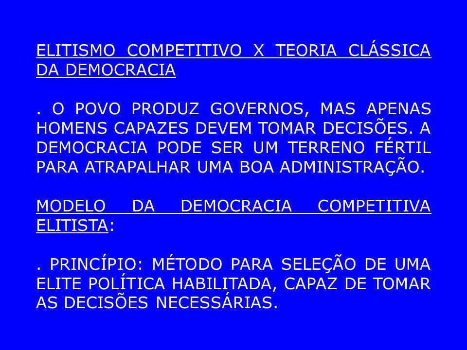ELITISMO COMPETITIVO X TEORIA CLÁSSICA DA DEMOCRACIA. O POVO PRODUZ GOVERNOS, MAS APENAS HOMENS CAPAZES DEVEM TOMAR DECISÕES. A DEMOCRACIA PODE SER UM