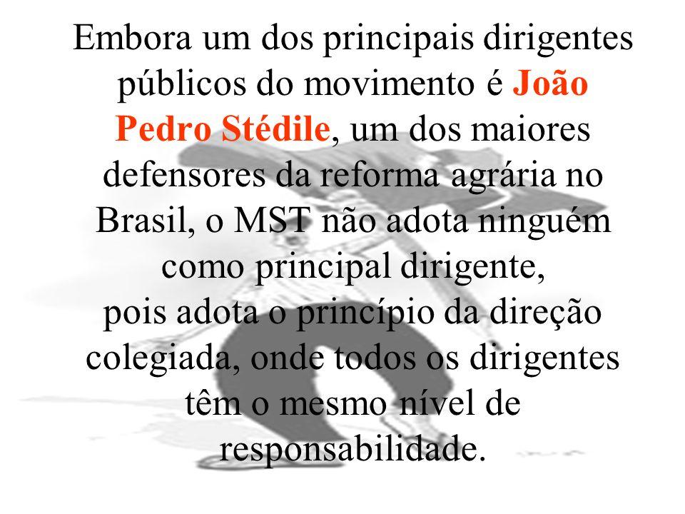 Embora um dos principais dirigentes públicos do movimento é João Pedro Stédile, um dos maiores defensores da reforma agrária no Brasil, o MST não adot