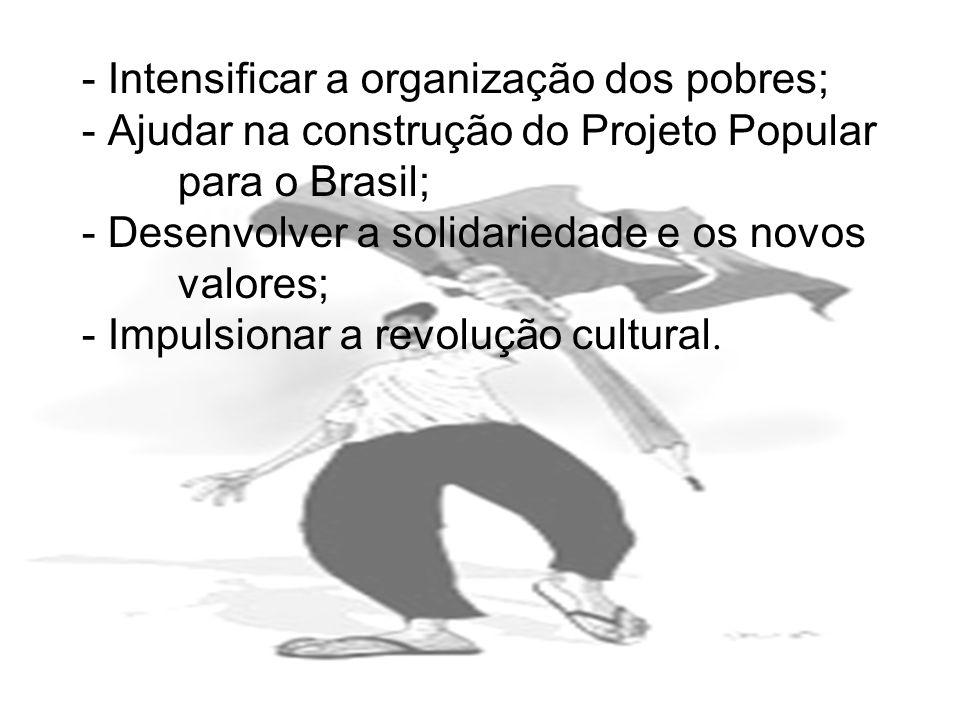 - Intensificar a organização dos pobres; - Ajudar na construção do Projeto Popular para o Brasil; - Desenvolver a solidariedade e os novos valores; -