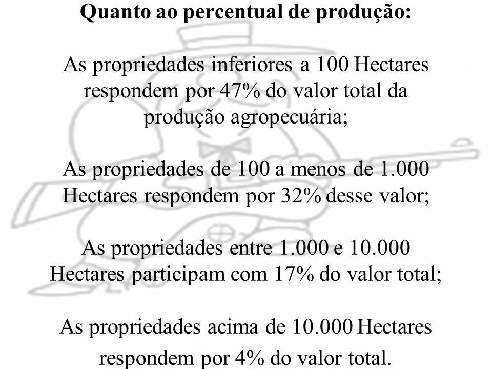 Quanto ao percentual de produção: As propriedades inferiores a 100 Hectares respondem por 47% do valor total da produção agropecuária; As propriedades