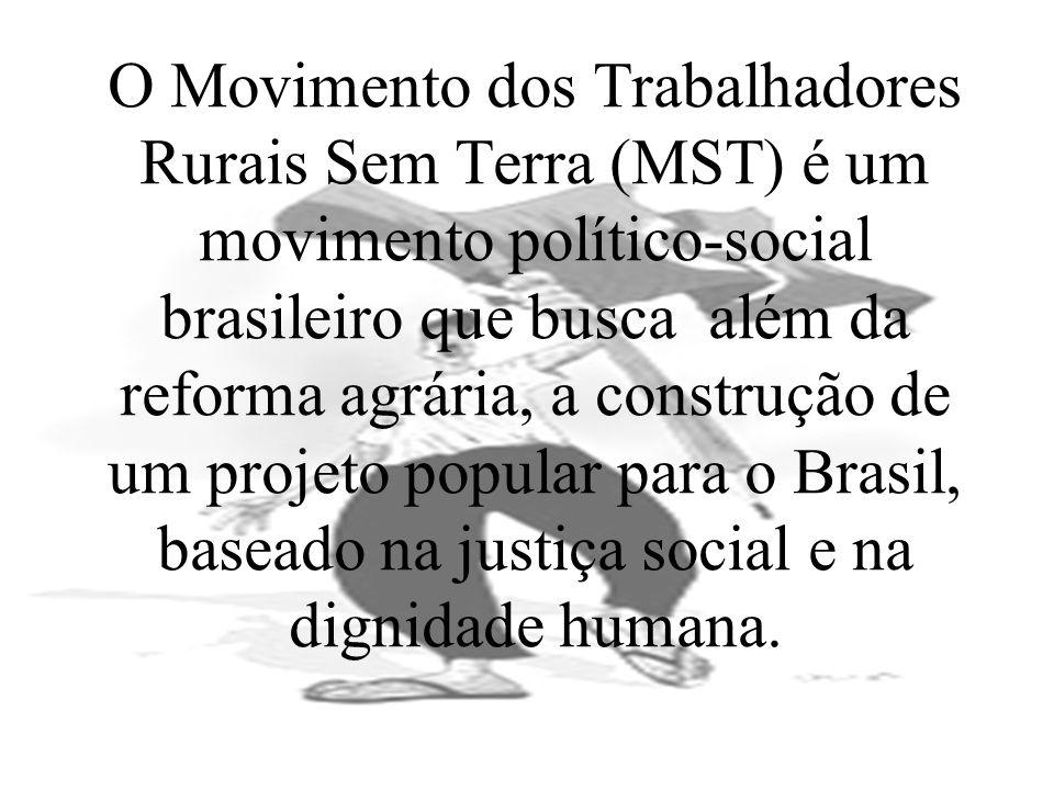 O Movimento dos Trabalhadores Rurais Sem Terra (MST) é um movimento político-social brasileiro que busca além da reforma agrária, a construção de um p