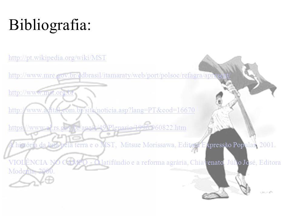 Bibliografia: http://pt.wikipedia.org/wiki/MST http://www.mre.gov.br/cdbrasil/itamaraty/web/port/polsoc/refagra/apresent/ http://www.mst.org.br http:/