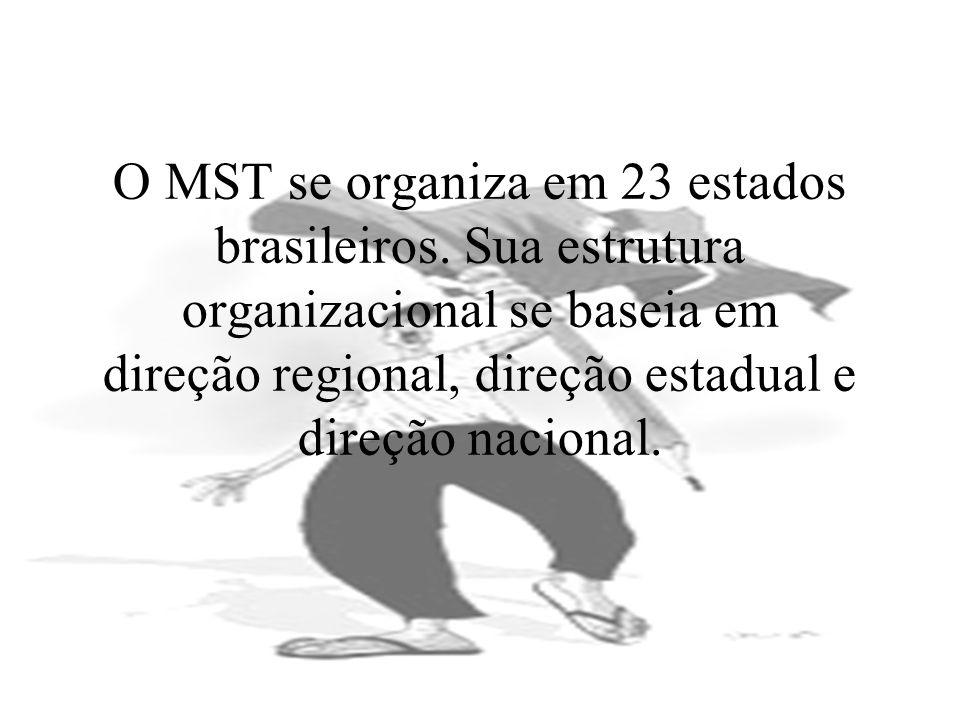 O MST se organiza em 23 estados brasileiros. Sua estrutura organizacional se baseia em direção regional, direção estadual e direção nacional.