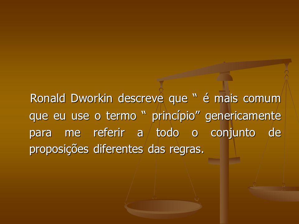 Ronald Dworkin descreve que é mais comum que eu use o termo princípio genericamente para me referir a todo o conjunto de proposições diferentes das re