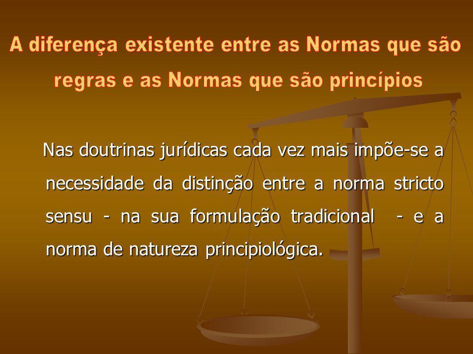 Nas doutrinas jurídicas cada vez mais impõe-se a necessidade da distinção entre a norma stricto sensu - na sua formulação tradicional - e a norma de n