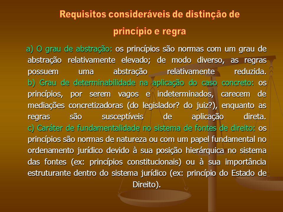 a) O grau de abstração: os princípios são normas com um grau de abstração relativamente elevado; de modo diverso, as regras possuem uma abstração rela