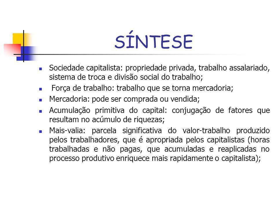 SÍNTESE Sociedade capitalista: propriedade privada, trabalho assalariado, sistema de troca e divisão social do trabalho; Força de trabalho: trabalho q