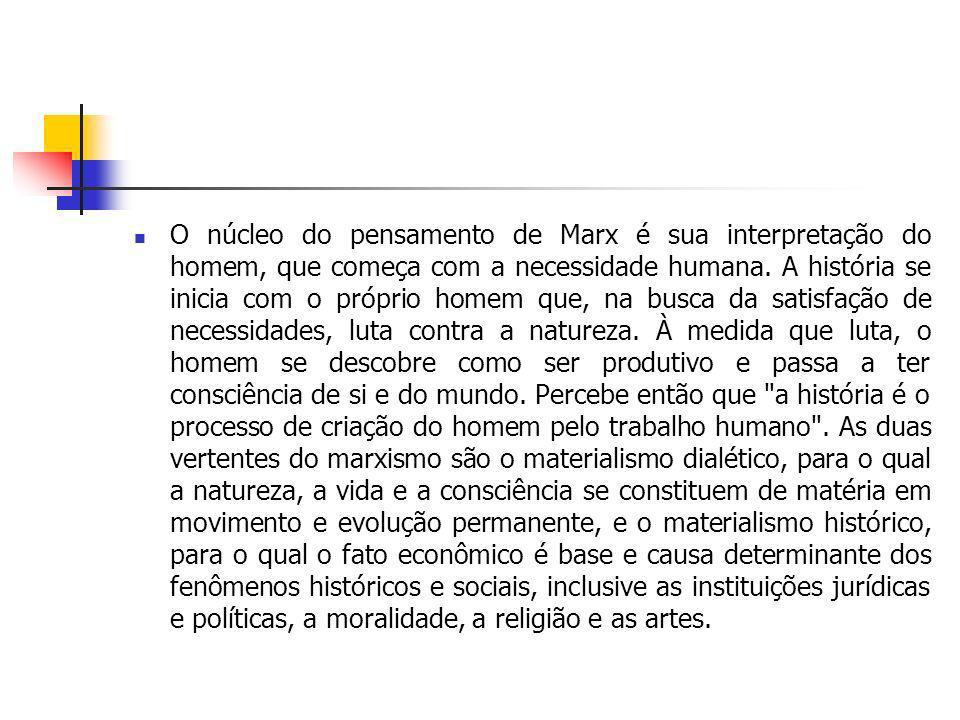 O núcleo do pensamento de Marx é sua interpretação do homem, que começa com a necessidade humana. A história se inicia com o próprio homem que, na bus