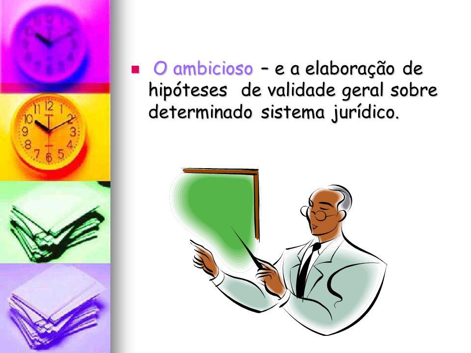 O ambicioso – e a elaboração de hipóteses de validade geral sobre determinado sistema jurídico. O ambicioso – e a elaboração de hipóteses de validade