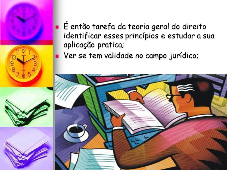 É então tarefa da teoria geral do direito identificar esses princípios e estudar a sua aplicação pratica; É então tarefa da teoria geral do direito id